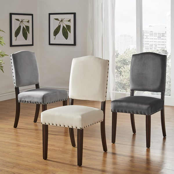 Benchwright ii velvet nailhead dining chairs set of 2 by for Inspire q dining room chairs