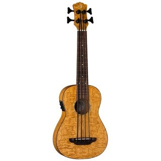 Luna Guitars Baritone Bass Ukulele, Quilt Top w/ Preamp - Satin Natural