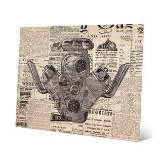Engine on Vintage Newsprint Wall Art on Metal