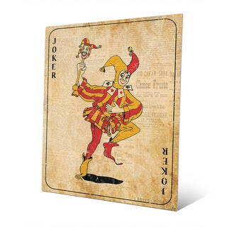 Vintage Joker Playing Card Wall Art Print on Metal