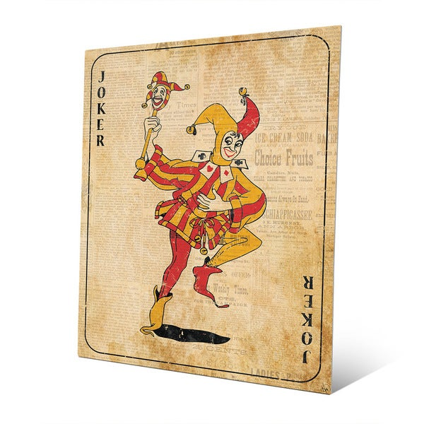 Vintage Joker Playing Card Wall Art Print on Metal - Free Shipping ...