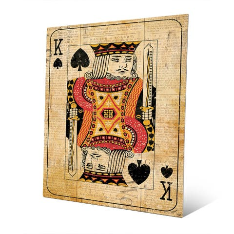 Vintage King Playing Card Wall Art Print on Metal
