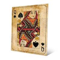 Vintage Queen Playing Card Wall Art Print on Metal