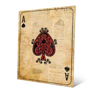 Vintage Ace Playing Card Wall Art Print on Metal