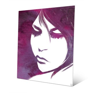 Woman's Violet Lit Face Wall Art Print on Metal