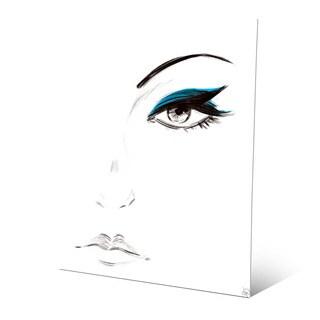 Cyan Eyeshadow Wall Art Print on Metal