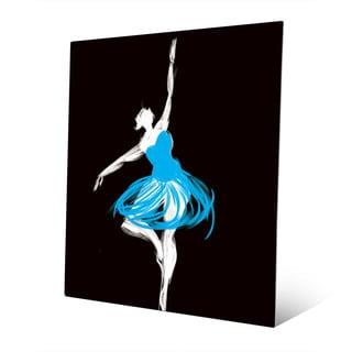 Cyan Ballerina Wall Art Print on Metal