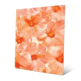 Brush Flowers in Orange Wall Art Print on Metal