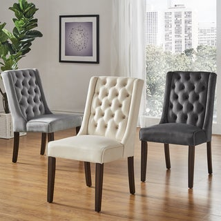 Evelyn II Velvet Tufted Wingback Hostess Chairs (Set of 2) by iNSPIRE Q Bold (3 options available)
