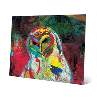Spooky Colorful Owl on Red Wall Art Print on Metal