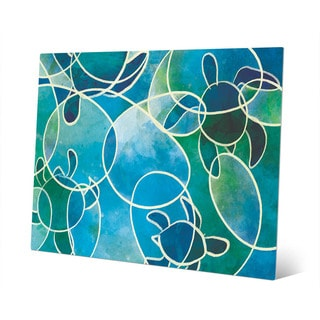 Sea Turtles Abstract Blue Wall Art Print on Metal