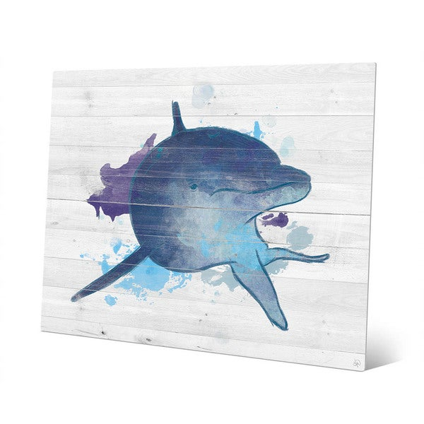 Shop Painted Watercolor Dolphin Wall Art Print on Metal - On Sale ...