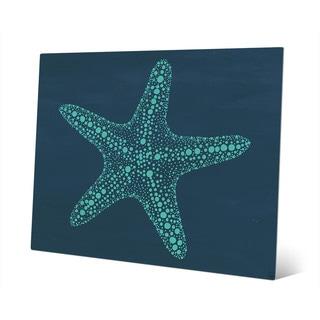 Starfish Dots in Teal Blue Wall Art Print on Metal