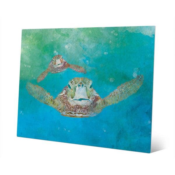 2 Sea Turtles Swimming Wall Art Print on Metal