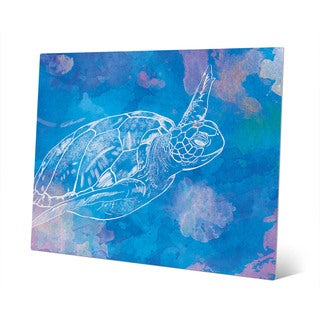 Sea Turtle Swimming on Blue Wall Art on Metal