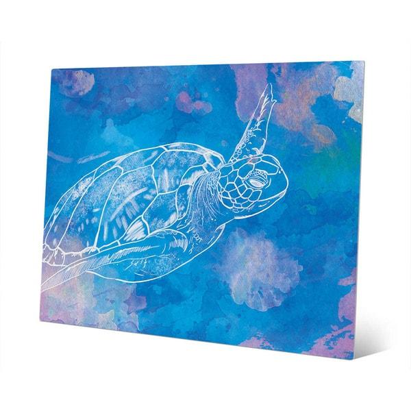 Shop Sea Turtle Swimming on Blue Wall Art on Metal - On Sale - Free ...