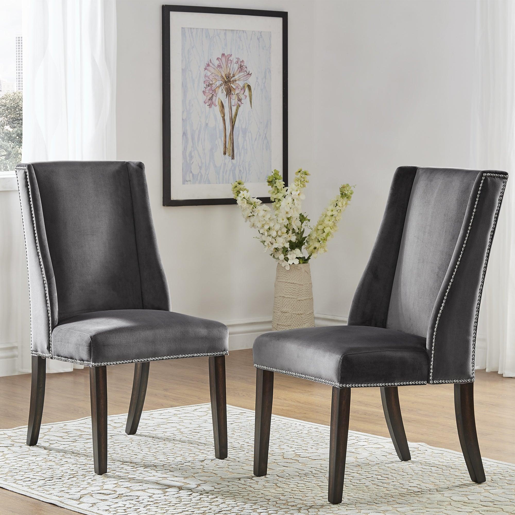 Inspire Q Andorra Velvet And Faux Alligator Leather Dining: Geneva II Velvet Wingback Hostess Chairs (Set Of 2) By