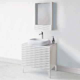 Sophia Collection High-gloss White Wide Vanity With Marble Top and Above-Counter Lavatory