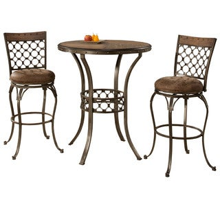 Hillsdale Furniture Lannis 3 Piece Bar Height Bistro Dining Set in Brushed Steel