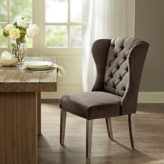 Madison Park Lydia Charcoal Tufted Wing Dining Chair