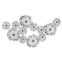 Pranali Silver Metal Flowers Wall Decor