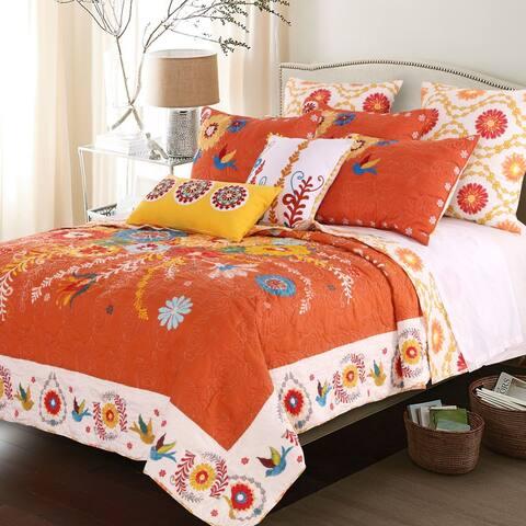 Barefoot Bungalow Topanga Bohemian Floral Orange Quilt Set