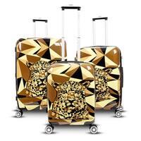 Gabbiano Safari Leopard 3-piece Expandable Hardside Spinner Luggage Set