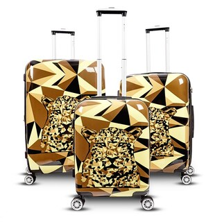Gabbiano Safari Leopard 3-piece Expandable Hardside Spinner Luggage Set