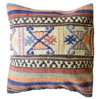 Pasargad Vintage Turkish Multicolored Wool 20-inch Throw Pillow