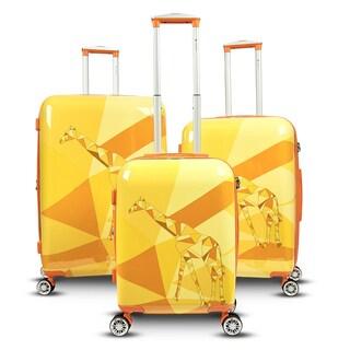 Gabbiano Safari Giraffe 3-piece Expandable Hardside Spinner Luggage Set