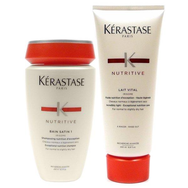 Kerastase Bain Satin 1 8.5-ounce Shampoo & 6.8-ounce Lait Vital Conditioner