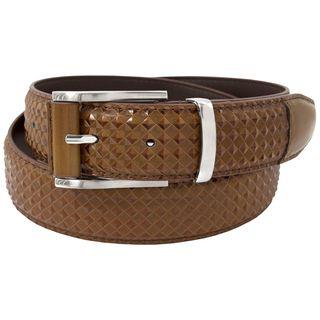 Stacy Adams 35mm Brown Leather Diammond Embossed Belt