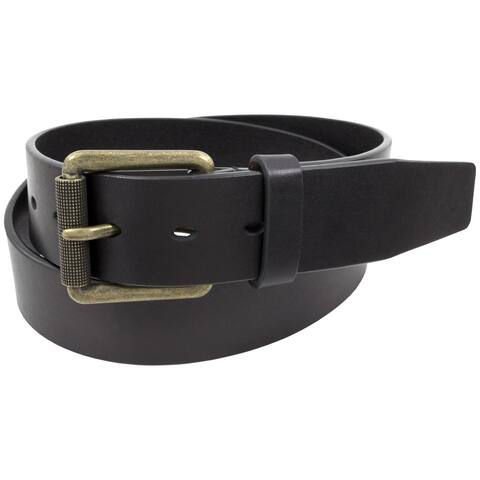 Stacy Adams 38mm One-Piece Black Genuine Leather Antique Brass Roller Buckled Belt