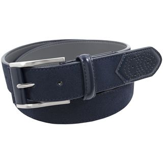 Stacy Adams 34mm Navy Geniune Suede Leather Trim Perforated Leather Tip and Single Keeper Belt