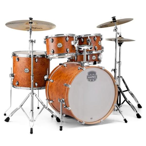"""Mapex ST5295FIC Storm 22"""" Bass Drum 5-Piece Rock Drum Set w/ Chrome Hardware - Camphor Wood Grain"""