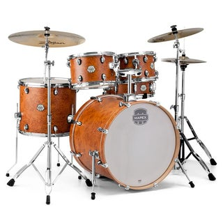 "Mapex ST5295FIC Storm 22"" Bass Drum 5-Piece Rock Drum Set w/ Chrome Hardware - Camphor Wood Grain"