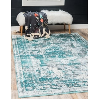 Sofia Floral Light Turquoise Area Rug (5' x 8')
