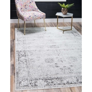 Sofia Floral Light Grey Area Rug (5' x 8')
