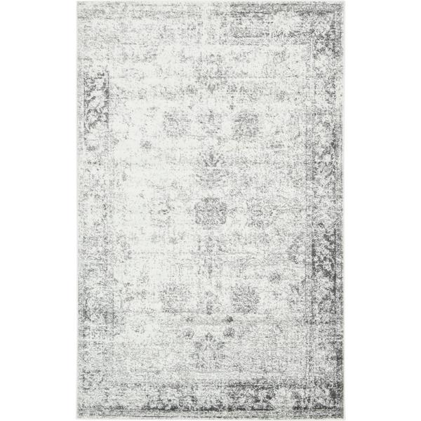 Sofia Floral Light Grey Area Rug 5 X 8 Free Shipping