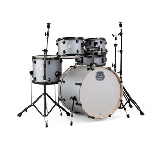 "Mapex ST5295FBIG Storm 22"" Bass Drum 5-Piece Rock Drum Set w/Black Hardware - Iron Grey"
