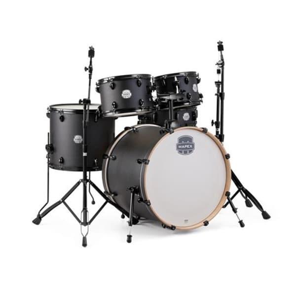 "Mapex ST5295FBIZ Storm 22"" Bass Drum 5-Piece Rock Drum Set w/Black Hardware - Deep Black"