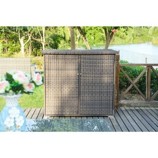Santa Rosa 4.12 ft. W x 2.48 ft. D Large Garden Patio Wicker Waste Basket Trash Can with Lid