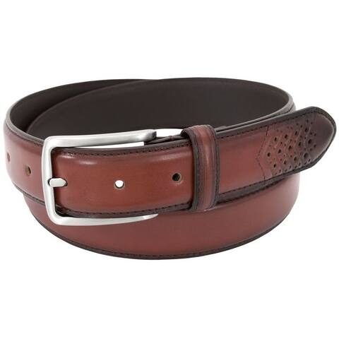 Stacy Adams 32mm Cognac Full Grain Burnished Leather Belt w/ Wingtip Perforated Tail