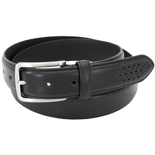 Stacy Adams 32mm Black Full Grain Burnished Leather Belt w/ Wingtip Perforated Tail