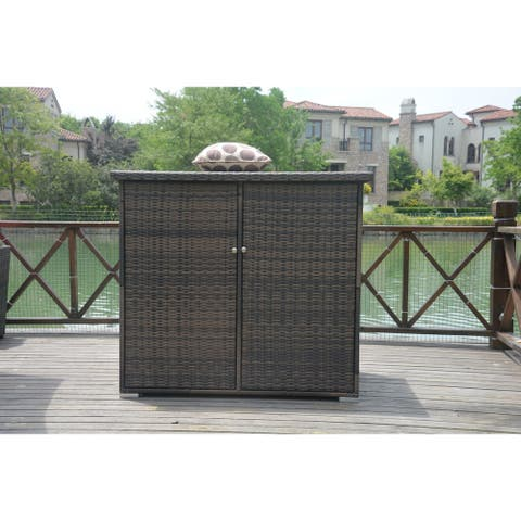 Santa Rosa Wicker Garden Storage Shed with Lid by Direct Wicker