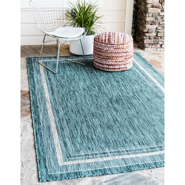 Teal Area Rug Turquoise Rug Soft Rug Bathroom By: Shop Unique Loom Soft Border Outdoor Area Rug