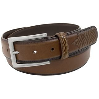 Stacy Adams 32mm Cognac Geniune Leather Belt w/Lizard Embossed Accent On Tip and Keeper