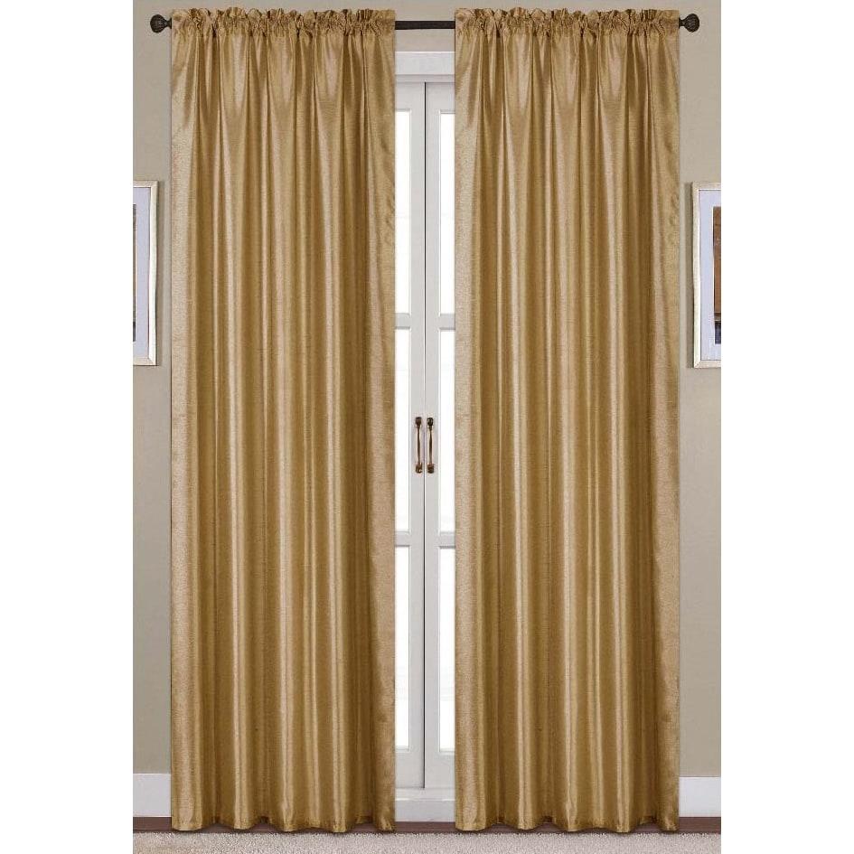Clay Alder Home Eads Faux Silk 90 Inch Rod Pocket Curtain Panel (Option: