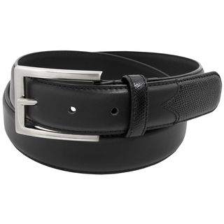 Stacy Adams 32mm Black Geniune Leather Belt w/Lizard Embossed Accent On Tip and Keeper