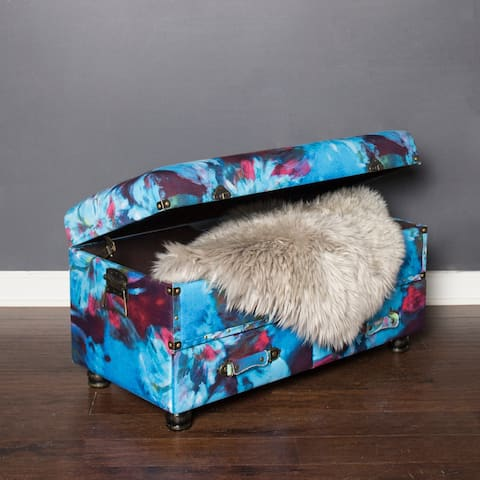 """17.25""""H Abstract Watercolor Storage Trunk - Blue/Navy/Burgundy Flower - Blue"""
